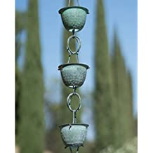 Monarch Pure Copper Hammered Cup Rain Chain, 8-1/2-Feet Length (Green Patina)