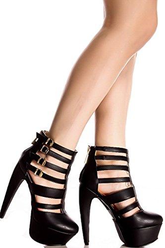 Lolli Couture Triple Strap Platform 6 Pollici Tacco Alto Black-miriam