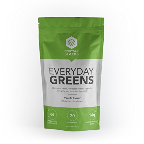 Everyday Stacks - Green Superfood Powder (30 Servings) – Whole Food Fruit & Veggies – Vanilla Flavored - Superfood Green Supplement Pouch