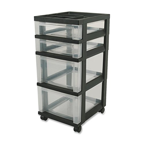 4 Drawer Mini Chest - Wholesale CASE of 5 - Iris Mini Clear Plastic Storage Cart-Mini Chests,4-Drawer,12-1/16