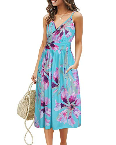 (OUGES Women's Summer Spaghetti Strap V-Neck Floral Short Party Dress with Pockets(Floral09,M))
