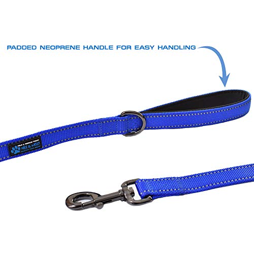 Max and Neo Double Handle Traffic Dog Leash Reflective - We Donate a Leash to a Dog Rescue for Every Leash Sold (Black, 6 FT)