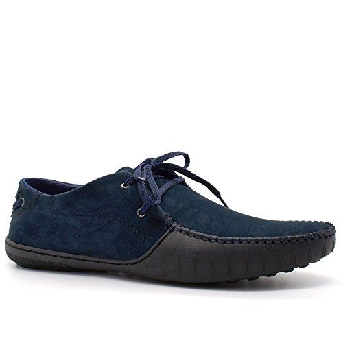 London Footwear , Herren Durchgängies Plateau Sandalen mit Keilabsatz Navy
