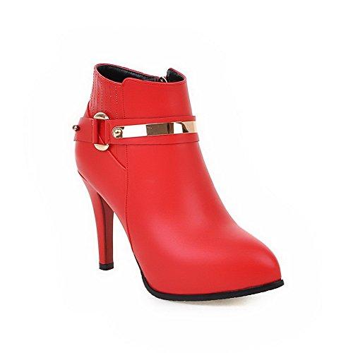 AllhqFashion Women's Chains Boots High-Heels PU Solid Low-top Boots Chains B01M1DRZ0U Parent bc4057