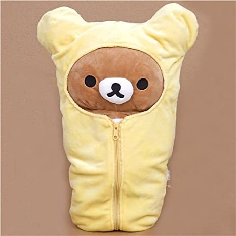Peluche grande oso marrón Rilakkuma en saco de dormir: Amazon.es: Juguetes y juegos