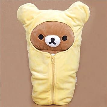 Peluche grande oso marrón Rilakkuma en saco de dormir