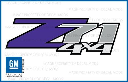 Chevy Silverado Z71 4x4 PURPLE decals stickers - FPUR (2007-2013) bed side 1500 2500 HD (set of 2)