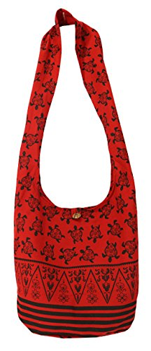 Lovely Creations's Hippie Boho New Elephant Crossbody Bohemian Gypsy Sling Shoulder Large Size (Turtle L Red)