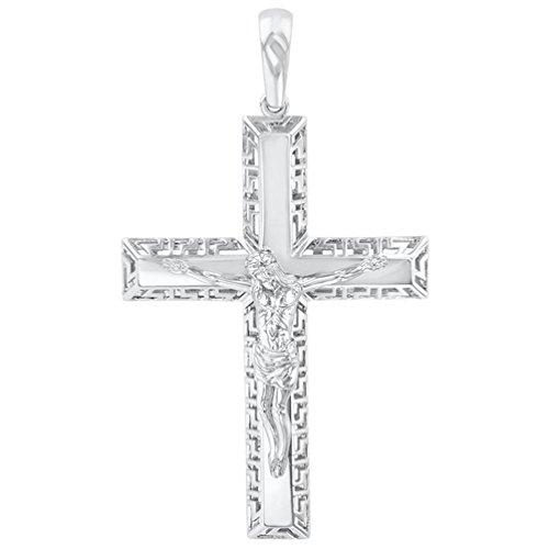 14K White Gold Large Cross Greek Key Pattern Crucifix Pendant