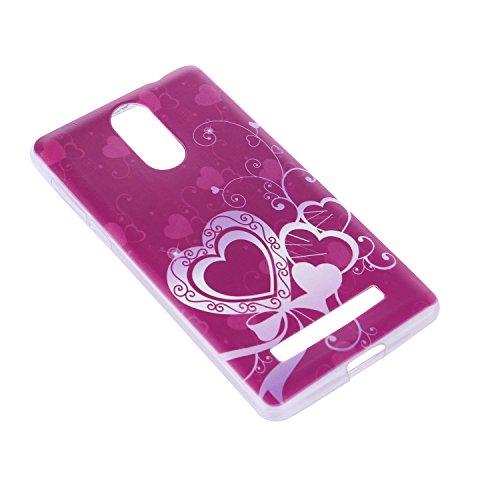 Lusee® Funda de silicona para Leagoo M8 / M8 Pro 5.7 pulgada Suave Cascara TPU corazón púrpura