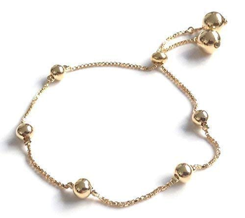 (Bolo Bracelets for Women 18k Gold Plated Beaded Chain With Drawstring Adjustable Closure Clasp)