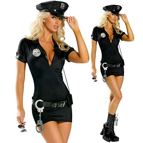 Z&X Sexy Black Cop Police Lady Woman Costume