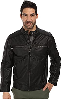 Calvin Klein Men's Faux Leather Four Pocket Moto Jacket w/ Canvas Trim