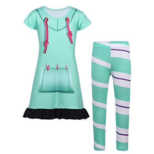 iEFiEL Kids Girls Halloween Cosplay Outfits Costume Digital Printed Top Dress with Striped Leggings Set Performance Wear Mint Blue 4-5 -