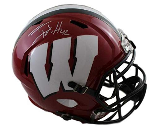 TJ Watt Autographed/Signed Wisconsin Badgers Red Speed Replica Helmet JSA (Riddell Wisconsin Badgers Replica Helmet)