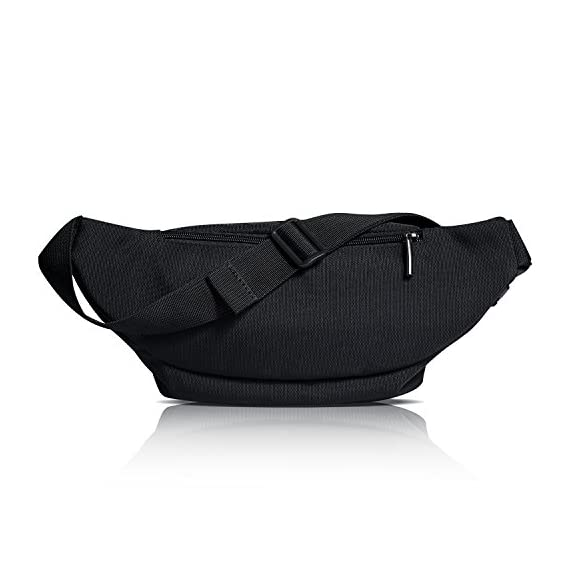 FREETOO Waist Pack Bag Fanny Pack for Men&Women Hip Bum Bag with Adjustable Strap for Outdoors Workout Traveling Casual Running Hiking Cycling (Black) 4 AMPLE ROOM, KEEP ORGANIZED: Well constructed with 5 separate zippered pockets of different sizes for all your needs;The largest pocket can easily hold a standard water bottle (16oz); A small hidden zipper compartment inside the main pocket perfect for your valuables for extra security; A flat zippered exterior pocket located behind the waist band, against your body. Provides spacious storage and help keep you organized while maintaining a slim profile DURABLE MATERIAL&LININGS, WEAR-RESISTANT: Made of strong 1000D Polyester+ Exquisite overall craftsmanship with cleanly finished seams, this waist bag is sturdy and built to last yet soft and pliable. It'll make a great addtion for your daily errands and outdoor activities, perfect for walking, running, biking, hiking, traveling, festivals, fairs, concerts and farmers markets etc. QUALITY SOLID ZIPPERS: ZIPPERS are a very important component of a bag and should never be compromised. This waist pack adopts tough and heavy duty zippers, sturdy,easy to slide and working smoothly. Zipper pulls are good-sized and elegant in design. Worry no more about anything falling out and getting lost.