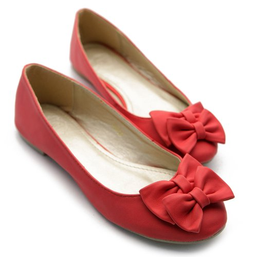 Ollio Mujeres Ballet Shoe Down Confort Lindo Cinta Acento Plano Rojo