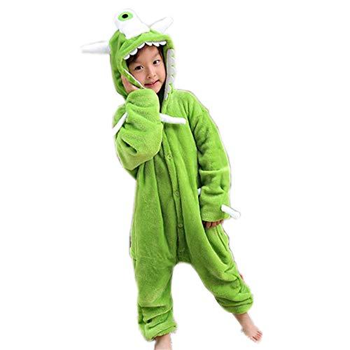 Children's Unicorn Jumpsuit Halloween Cartoon one-Piece Pajamas(Green 125-for Height (138-146cm) ()