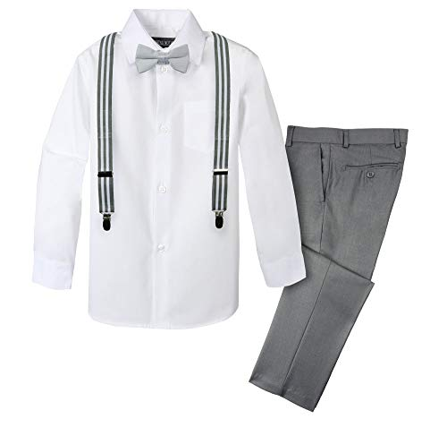 (Spring Notion Boys' 4-Piece Suspender Outfit 06 Grey/Stripes Grey White)