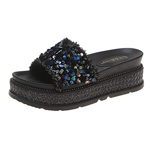 HHei_K Summer Casual Sequined Non - Slip Beach Thick - Soled Slippers Sandals for Women Flats Comfortable -
