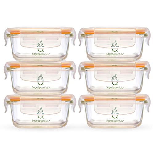Sage Spoonfuls 6 Piece Tough Glass Tubs Baby Food Storage Containers ()