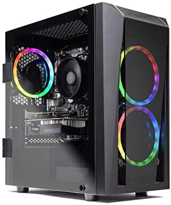 SkyTech Blaze II Gaming Computer PC Desktop - Ryzen 5 3600 6-Core 3.6GHz, GTX 1650 Super 4G, 500G SSD, 8GB DDR4 3000, B450 MB, RGB, AC WiFi, Windows 10 Home 64-bit