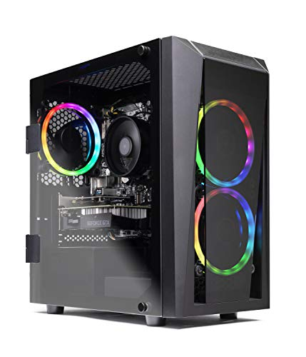 powerful SkyTech Blaze II Gaming Computer PC Desktop - Ryzen 5 2600 6-Core 3.4 GHz, NVIDIA GeForce GTX 1660 TI 6G, 500G SSD, 8GB DDR4, RGB, AC WiFi, Windows 10 Home 64-bit