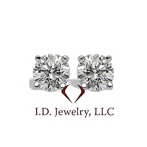 0.32CT G SI Martini Round Cut Diamond Stud Earrings 14K White Gold