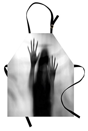 Lunarable Horror House Apron, Silhouette of Woman behind the Veil Scared to Death Obscured Paranormal Photo Print, Unisex Kitchen Bib Apron with Adjustable Neck for Cooking Baking Gardening, Gray by Lunarable
