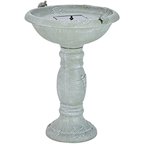 Smart Solar 20622R01 Country Gardens Solar Birdbath Fountain Gray Weathered Stone Finish Designed For Low Maintenance And Requires No Wiring Or Operating Costs