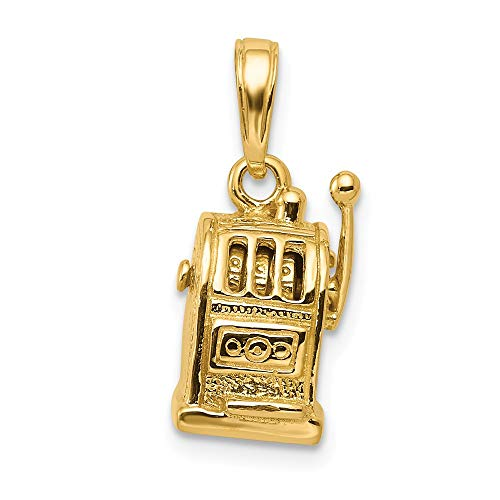 14k Yellow Gold 3 D Moveable Slot Machine Pendant Charm Necklace Gambling Fine Jewelry Gifts For Women For Her (Best Slot Machines In Las Vegas 2019)