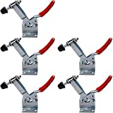 Quentacy 5-Pack Horizontal Toggle Clamp 201B Antislip Red Quick Release Machine Operation Workholding Hand Tool Holding 90Kg/198Lbs