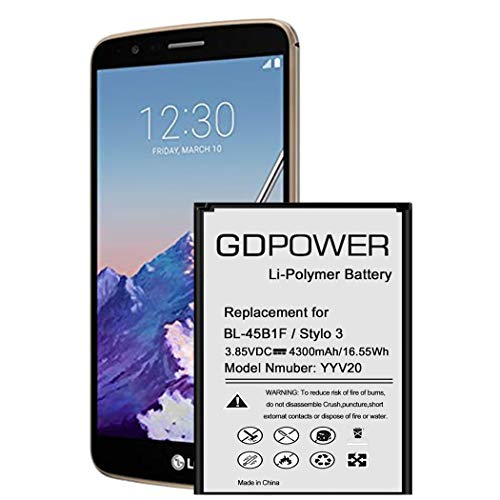 LG Stylo 3 Battery, GDPower 4300mAh High Capacity 0 Cycle Battery BL-44E1F Replacement for LG Stylo 3 LG Stylo 3 Plus TP450 MP450 LS777, LG Stylo 3 Spare Battery-3 Year Warranty