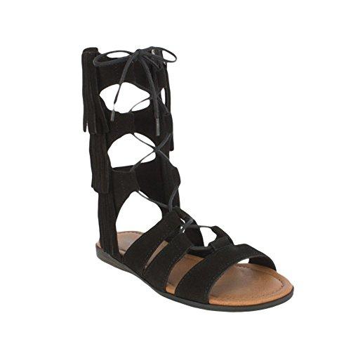 Minnetonka Milos Womens Sandal Black Suede