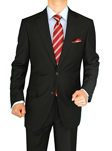 Gino Valentino 2 Piece Men's Side Vents Jacket Flat Front Pants 2 Button Black Suit (46 Long US / 56 Long EU)