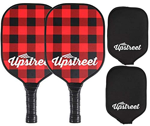 Upstreet Graphite Pickleball Paddle PP Honeycomb Composite Core | Neoprene Racket Cover (Plaid)