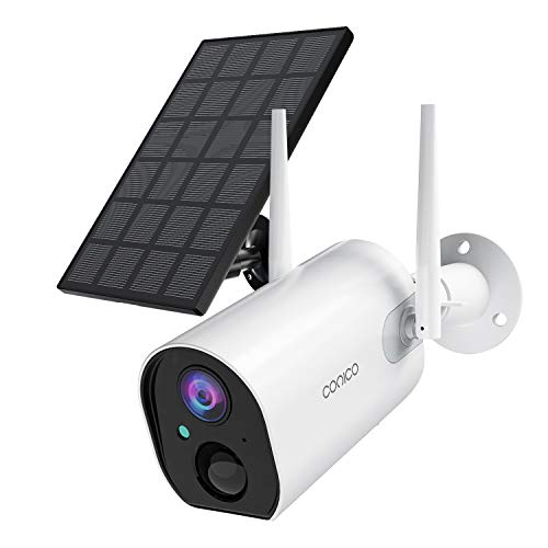 Outdoor Security Camera, Conico Wireless Solar Powered Home IP Camera,Surveillance WiFi Cam with Solar Panel,Night Vision, Two Way Audio, PIR Motion Detection and IP65 Waterproof
