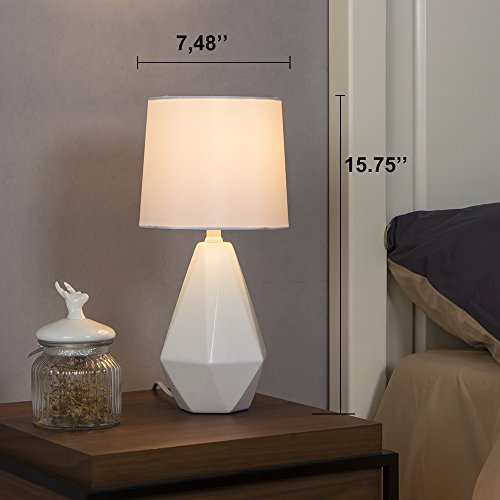 SOTTAE Modern Resin White Irregular Geometric Livingroom Bedroom Bedside Table Lamp, Desk Lamp With White Fabric Shade