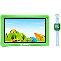 LINSAY NEW F7KGWG7 Kids Tablet Green Bundle with 1.5 Smart Watch Kids Cam Selfie Green up to 32GB