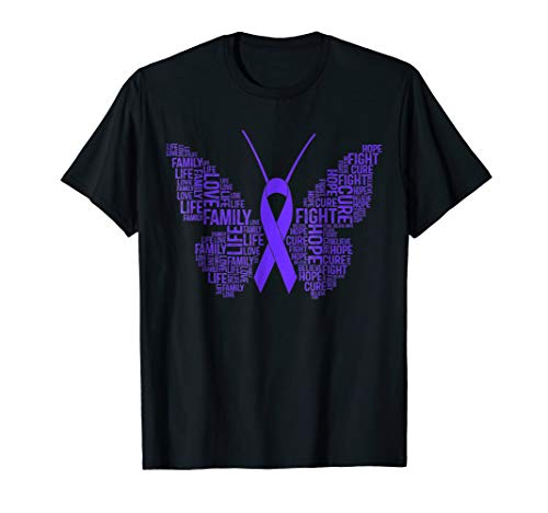 Awareness Purple Ribbon Shirt Fight Hope Cure - Ribbon Fibromyalgia Butterfly