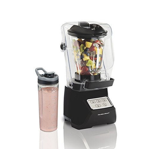 Hamilton Beach 53603 SoundShield Blender, 950 Watts, 3-Speed, with Pulse, Blends Food and Drinks, Stainless Steel Blades, 52 oz. Glass Jar and Blend-In Travel Jar, BPA-Free