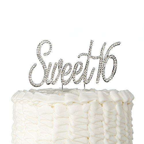 2b4d15222414 Ella Celebration Sweet 16 Cake Topper Crystal Rhinestone 16th Birthday  Party Gold Decoration (Sweet 16