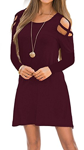 Womens Dresses Cold Shoulder Round Neck Loose Tunic Casual T Shirt Dress Burgundy M