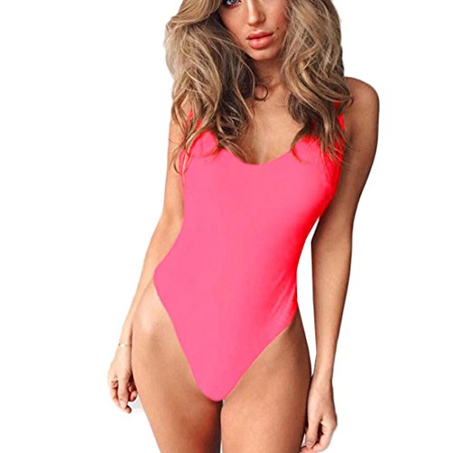 Tefamore partido atractivo Color sólido halter V-cuello del traje de baño Rosado
