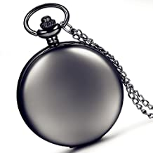 Lancardo Smooth Metal Black Case White Dial Arabic Numbers Modern Pocket Watch With Chain (Black )