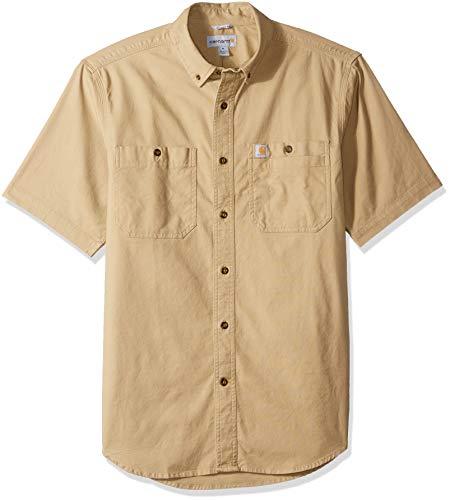Carhartt Men's Rugged Flex Rigby Short Sleeve Work Shirt, Dark Khaki, Medium