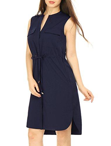 Allegra K Woman Drawstring Waist Single Breasted Sleeveless Dress Navy Blue M - Sleeveless Button Waist Shirt