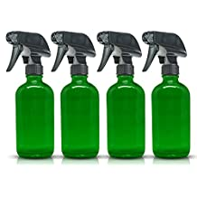 4-Pack - SMALL 8 oz Green Glass Spray Bottles PLUS Labels- 8 oz, 237 ml Refillable Container – Eco-Friendly- for Essential Oils, Homemade Cleaning Products, Organic Beauty Treatments or Cooking Oils - Durable Black Trigger Sprayer w/ Mist and Stream Nozzle
