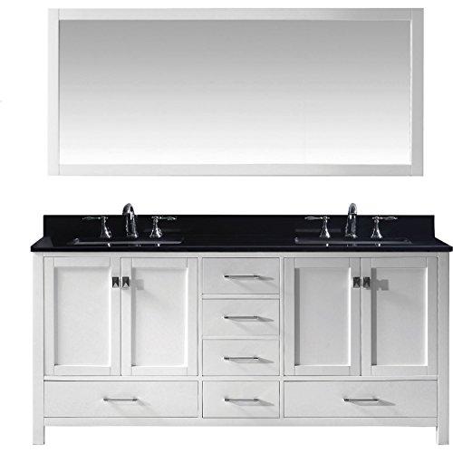 Black Galaxy Granite Countertops - Virtu USA Caroline Avenue 72 inch Double Sink Bathroom Vanity Set in White w/Square Undermount Sink, Black Galaxy Granite Countertop, Brushed Nickel Faucet, 1 Mirror - GD-50072-BGSQ-WH-001
