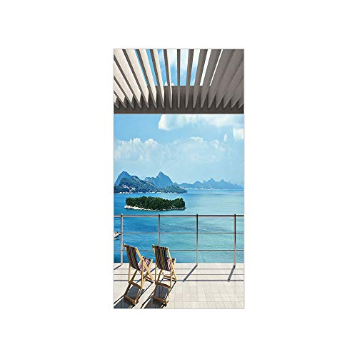 Ylljy00 Decorative Privacy Window Film/Modern Tile Roof Top House with Garden and Sea View Image/No-Glue Self Static Cling for Home Bedroom Bathroom Kitchen Office Decor Brown White Green and Blue